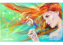 艺术品,红发,花卉,妇女,面对,模型,长发,蒲公英416931