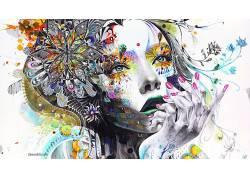 艺术品,超现实主义,手,华美,面对,妇女,Minjae Lee,镶嵌,绘画,动