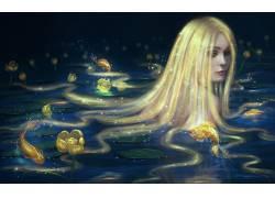 艺术品,金发,花卉,锦鲤,鱼,荷叶,长发29499