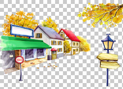 巴士站卡通插图,街道和房子PNG剪贴画电视,漫画,灯光,房屋,街灯,