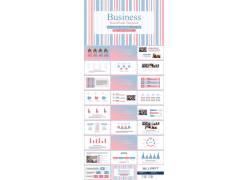 蓝粉线条背景清新时尚ppt模板图片