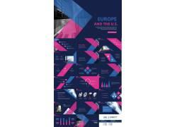 欧美蓝粉扁平化设计的商务ppt模板图片