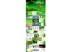 绿色粽子竹林背景端午节PPT模板