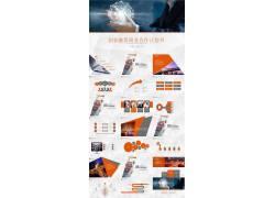 橙色发光球体背景的创业融资计划书ppt模板