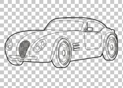跑车绘画线条艺术,Mcqueen PNG剪贴画紧凑型轿车,老式汽车,汽车,