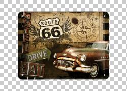 美国66号公路车怀旧金属复古风格,汽车PNG剪贴画老式汽车,高速公