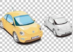 汽车大众甲壳虫,手绘卡通经典甲壳虫汽车PNG剪贴画水彩画,卡通人