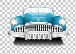 汽车海报汽车修理店,复古蓝色经典汽车PNG剪贴画紧凑型汽车,蓝色,