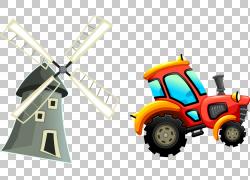 欧几里得拖拉机汽车设计卡通,手绘风车和拖拉机PNG剪贴画水彩绘画