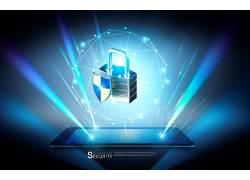 智能手机保护锁数据海报