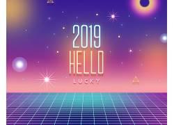 炫彩烟花2019色彩海报
