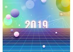 2019炫彩花纹海报