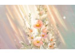 重彩花朵中国风背景模板