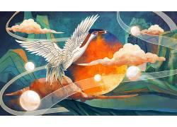 仙鹤中国风背景模板