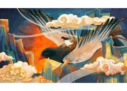 重彩人和鸟中国风背景模板