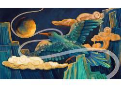 重彩飞鸟中国风背景模板
