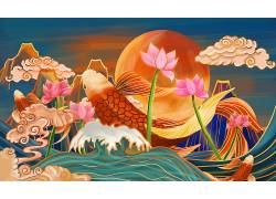 重彩鲤鱼中国风背景模板