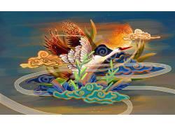 仙鹤重彩中国风背景模板