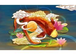 鲤鱼重彩中国风背景模板