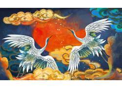 一对仙鹤重彩中国风背景模板