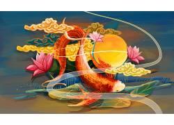 重彩锦鲤中国风背景模板