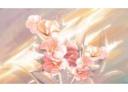 花朵重彩中国风背景模板