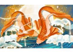 一对鲤鱼重彩中国风背景模板