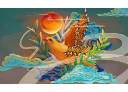 重彩鸟中国风背景模板
