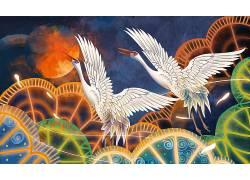 重彩鹤中国风背景模板