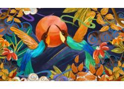 一对鸟重彩中国风背景模板