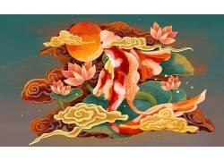 鱼重彩中国风背景模板