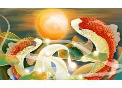 重彩一对鱼中国风背景模板