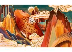 重彩大鱼中国风背景模板