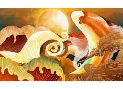 重彩大红鱼中国风背景模板 (30)