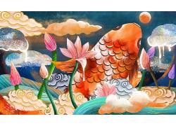 重彩鱼和荷花中国风背景模板
