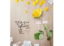 木板韩文背景黄玫瑰夏季海报