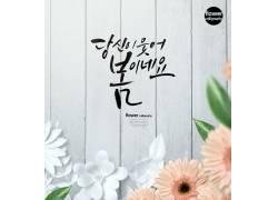 粉色与白色的花韩文背景夏季海报