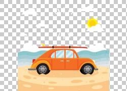 海边冲浪私人汽车PNG剪贴画紧凑型汽车,海滩,汽车事故,老式汽车,