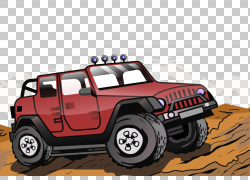 红色越野车PNG剪贴画汽车,越野车,卡通,车辆,吉普车,运输,砾石,越