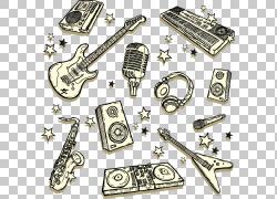 绘画音乐,手绘吉他声音键盘和其他音乐元素PNG剪贴画水彩画,电子