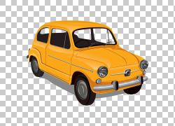 老式汽车Zastava 750,橙色经典车PNG剪贴画紧凑型汽车,汽车事故,