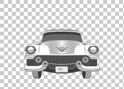 老式汽车凯迪拉克,经典汽车PNG剪贴画紧凑型车,汽车事故,单色,汽