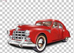 老式汽车海报经典汽车,经典汽车,经典红色硬顶轿车PNG剪贴画紧凑