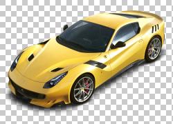 法拉利F12 Tdf Maranello跑车,法拉利F12tdf黄色车PNG剪贴画汽车,