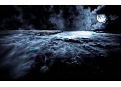 105816,地球,海洋,夜晚,月球,云,壁纸图片