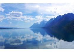 105819,地球,山,山脉,湖,蓝色,天空,云,反射,水,壁纸