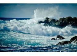 105834,地球,海洋,波浪,海岸,加利福尼亚,壁纸
