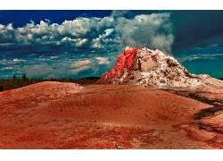 105846,地球,间歇喷泉,直接热轧制,黄石公园,森林,云,壁纸图片