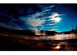 105849,地球,间歇喷泉,直接热轧制,蓝色,天空,热的,泳池,山,公园,