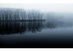10871,地球,湖,湖,风景,雾,树,水,反射,壁纸图片